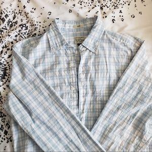 J Crew Men's Blue & White Plaid Button Down Shirt